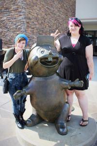 5-28-16 Lucy & Geneva with beaver